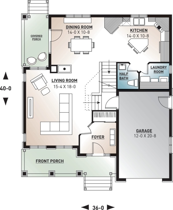 Farmhouse Floor Plan - Main Floor Plan Plan #23-807