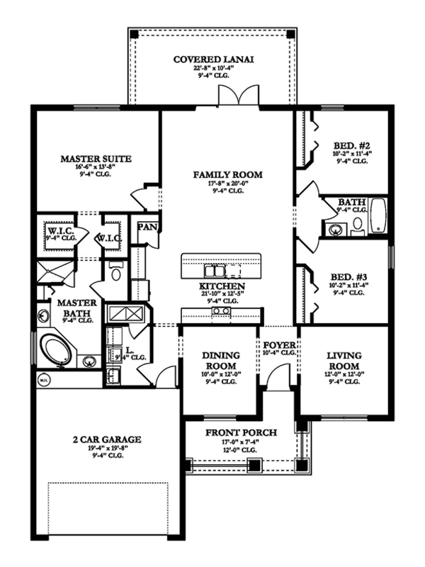 Traditional Floor Plan - Main Floor Plan Plan #1058-117