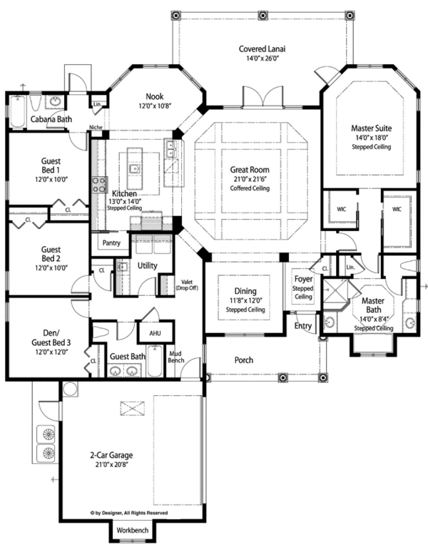 Mediterranean Style House Plan - 3 Beds 3 Baths 2529 Sq/Ft Plan #938-76 Floor Plan - Main Floor Plan