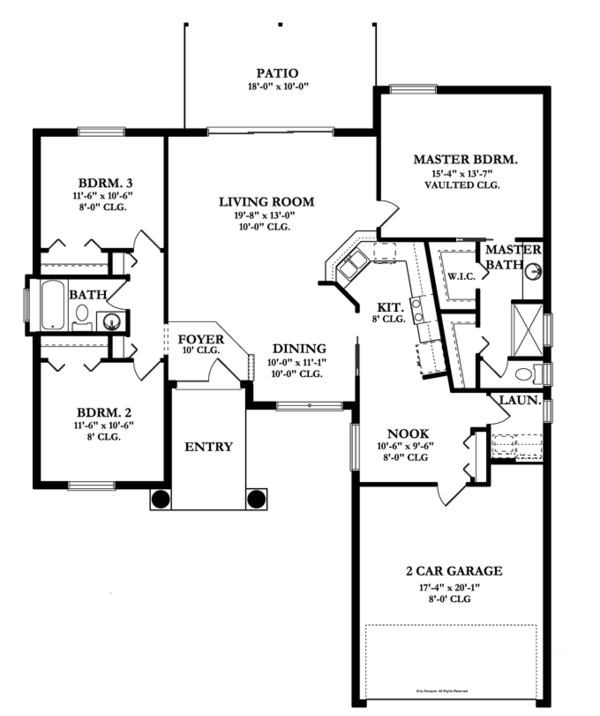 Mediterranean Floor Plan - Main Floor Plan Plan #1058-34