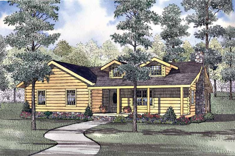 Log Exterior - Front Elevation Plan #17-3102