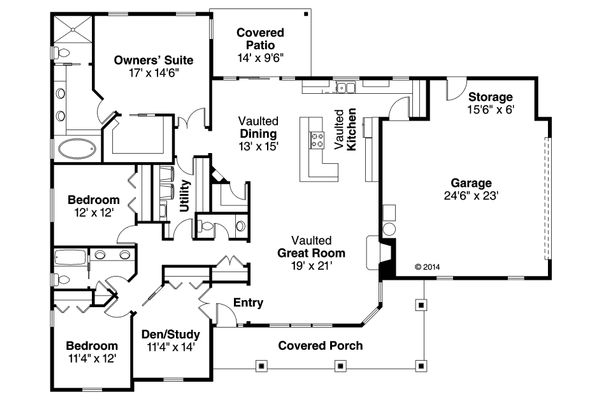 Ranch Floor Plan - Main Floor Plan Plan #124-1141