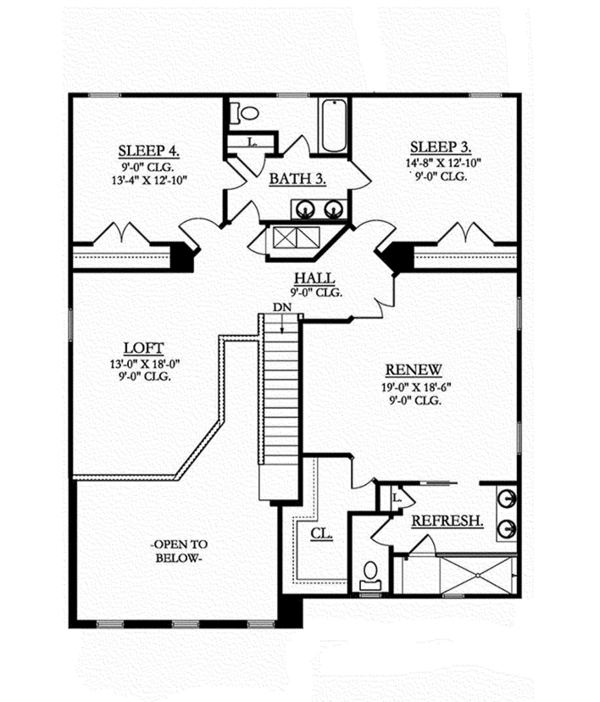 Colonial Floor Plan - Upper Floor Plan Plan #1058-68