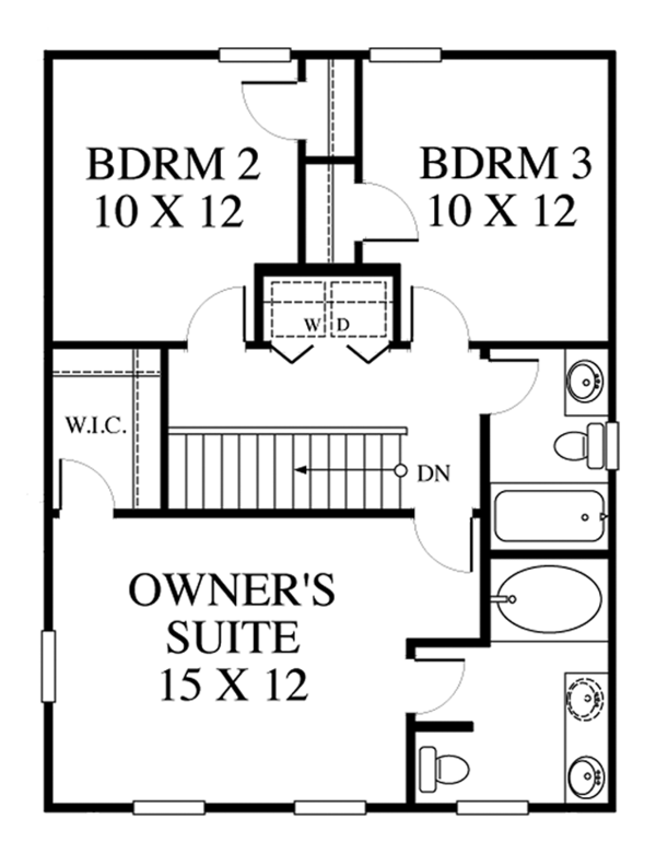 Colonial Floor Plan - Upper Floor Plan Plan #1053-63