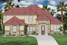 Dream House Plan - Mediterranean Exterior - Front Elevation Plan #84-528