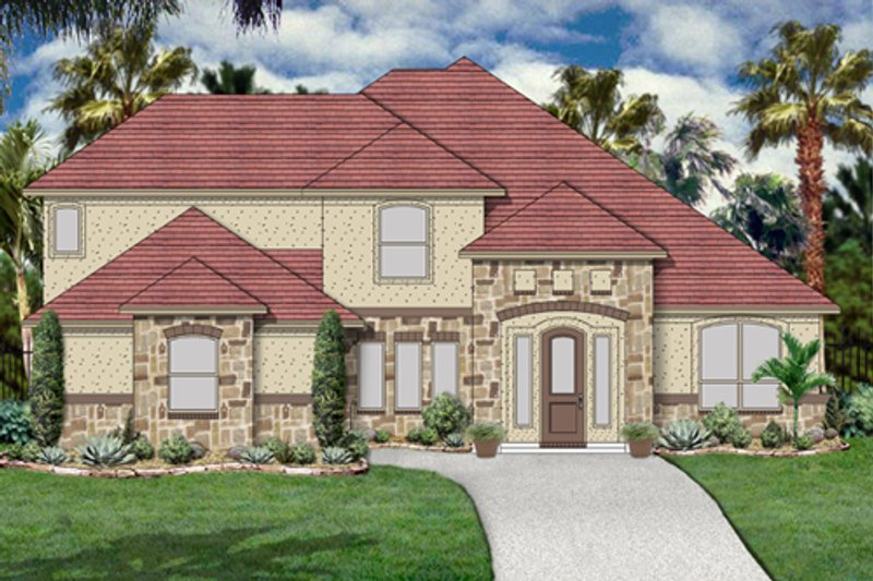 Mediterranean Exterior - Front Elevation Plan #84-528