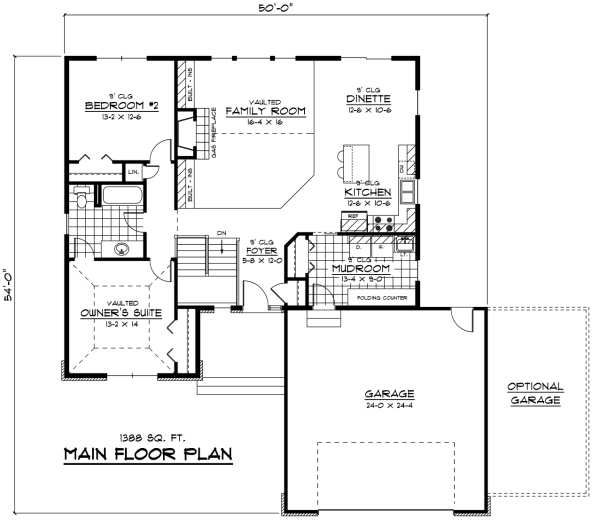 European Floor Plan - Main Floor Plan Plan #51-233
