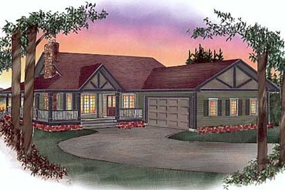 Ranch Exterior - Front Elevation Plan #409-110