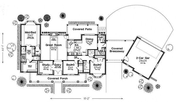 Colonial Floor Plan - Main Floor Plan Plan #310-595