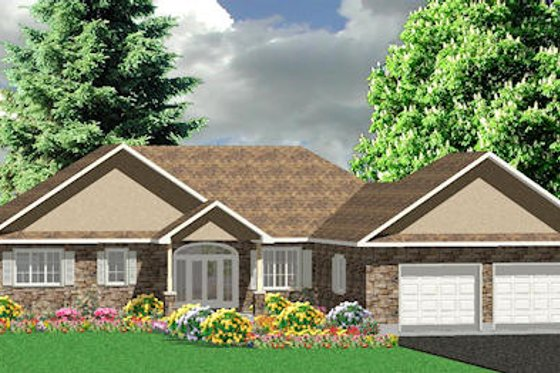 Ranch Exterior - Front Elevation Plan #414-126
