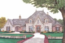 House Plan Design - European style home, front elevation