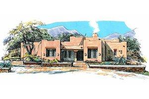 Adobe / Southwestern Exterior - Front Elevation Plan #4-117