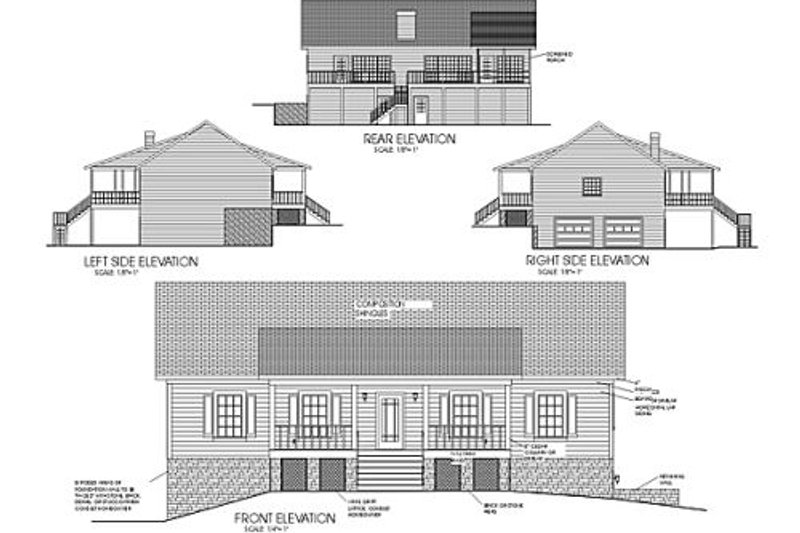 Country Exterior - Rear Elevation Plan #56-139 - Houseplans.com