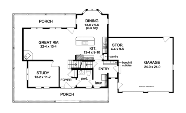 Traditional Floor Plan - Main Floor Plan Plan #1010-80