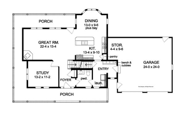 Traditional Floor Plan - Main Floor Plan Plan #1010-80