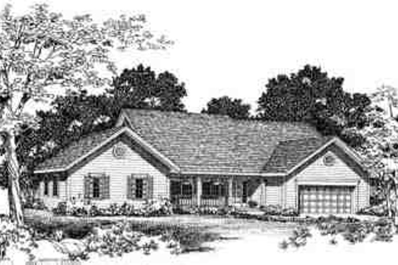 Ranch Exterior - Front Elevation Plan #72-218