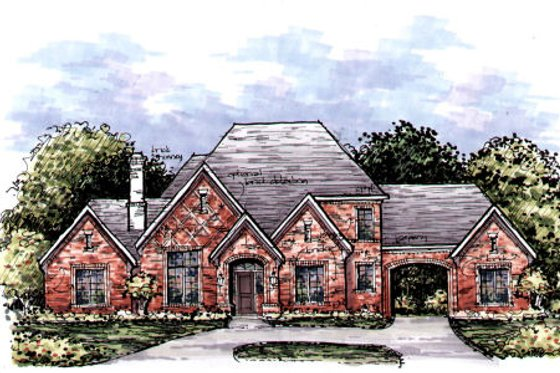 European Exterior - Front Elevation Plan #141-343