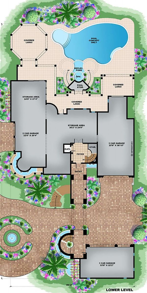 Mediterranean Floor Plan - Main Floor Plan Plan #27-538