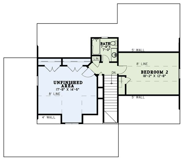 Craftsman Floor Plan - Upper Floor Plan Plan #17-3427