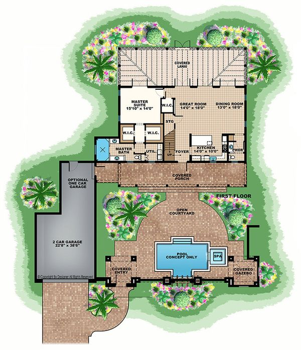 European Floor Plan - Main Floor Plan Plan #1017-167