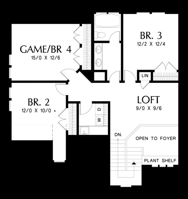 Craftsman Floor Plan - Upper Floor Plan Plan #48-677
