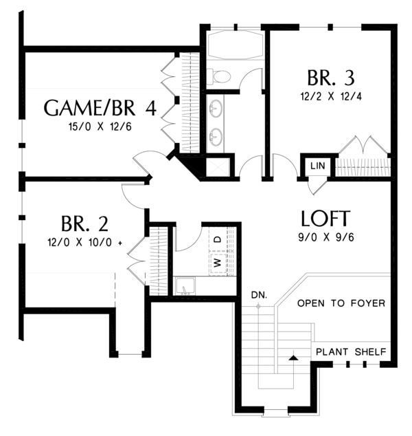 Craftsman Floor Plan - Upper Floor Plan Plan #48-677
