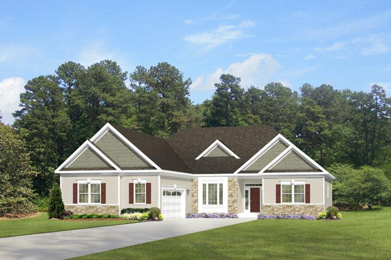 Ranch Exterior - Front Elevation Plan #1010-81