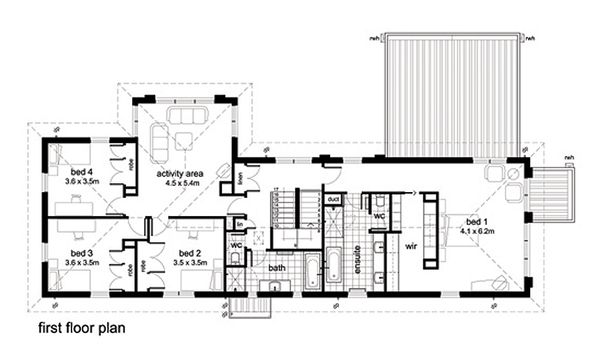 Modern Floor Plan - Upper Floor Plan Plan #496-2