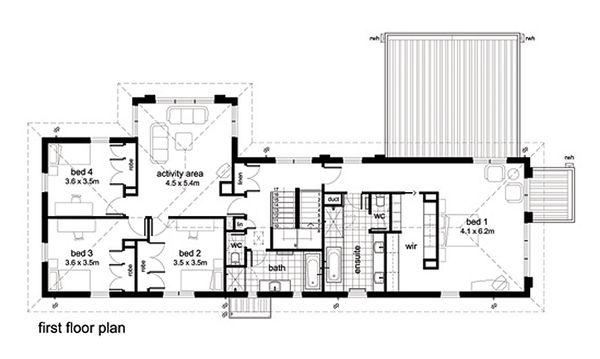 Modern Floor Plan - Upper Floor Plan Plan #496-2