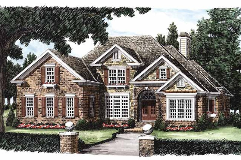 Colonial Exterior - Front Elevation Plan #927-492