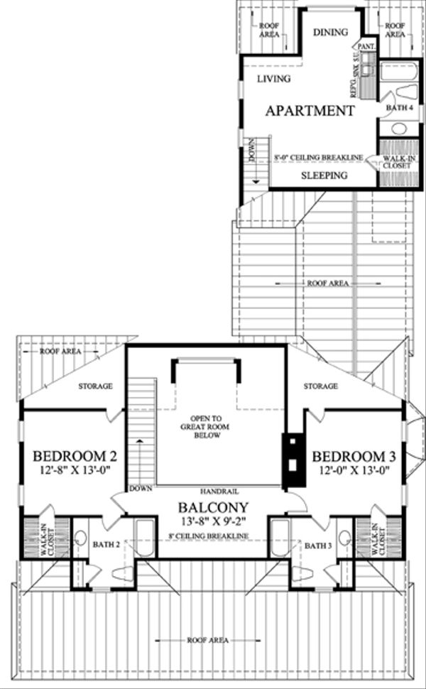 Southern Floor Plan - Upper Floor Plan Plan #137-265