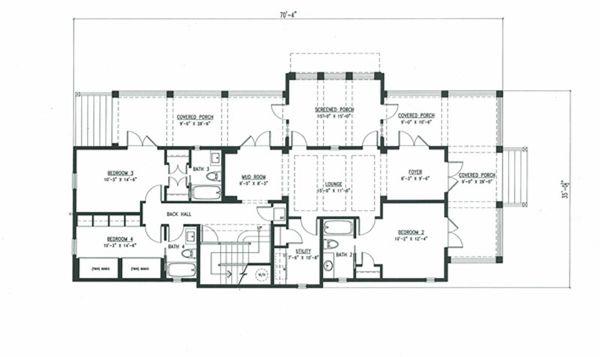 Beach Style House Plan - 4 Beds 5 Baths 3056 Sq/Ft Plan #443-10 Floor Plan - Lower Floor Plan