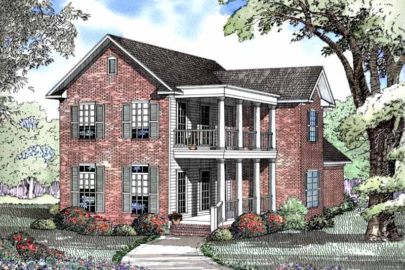 Classical Exterior - Front Elevation Plan #17-3007