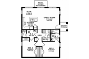 Mediterranean Style House Plan - 2 Beds 2 Baths 1195 Sq/Ft Plan #1058-115 Floor Plan - Main Floor Plan