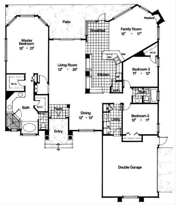 Mediterranean Floor Plan - Main Floor Plan Plan #417-228