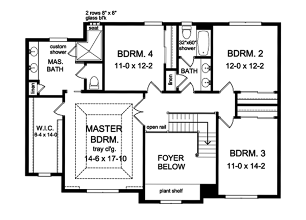 Colonial Floor Plan - Upper Floor Plan Plan #1010-165