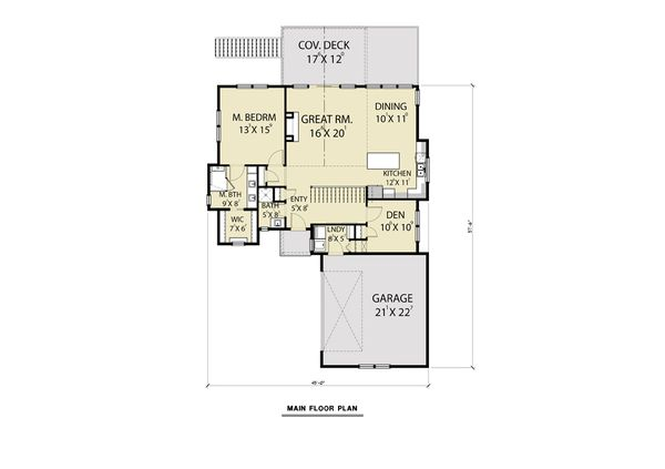 Craftsman Floor Plan - Main Floor Plan Plan #1070-99