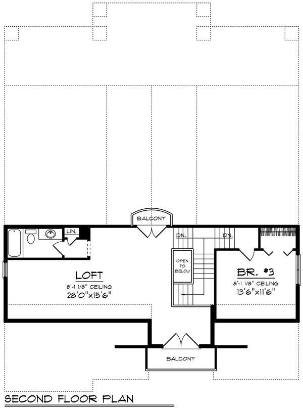 Traditional Floor Plan - Upper Floor Plan Plan #70-1435