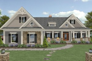 Craftsman Exterior - Front Elevation Plan #56-726