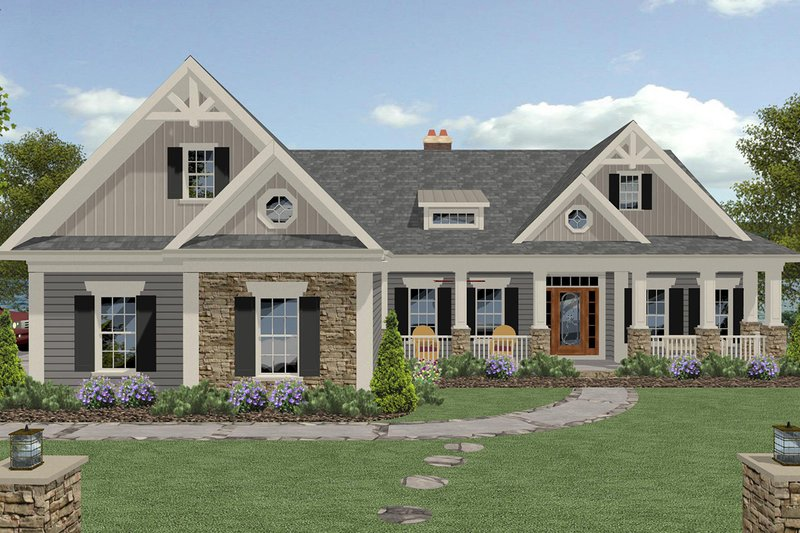 Craftsman Style House Plan - 4 Beds 4 Baths 2885 Sq/Ft Plan #56-726 Exterior - Front Elevation