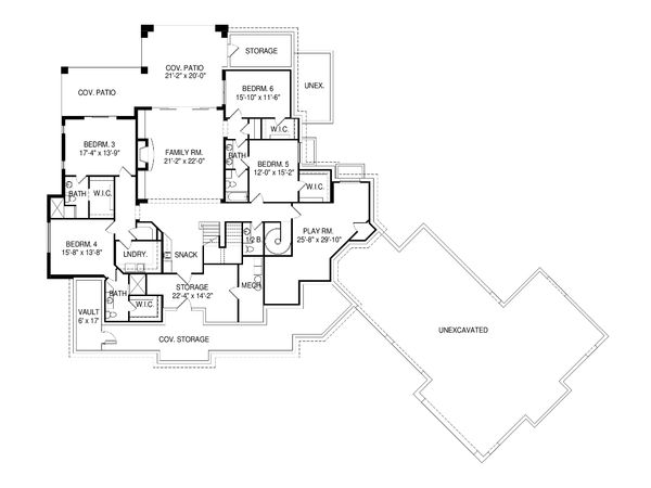 Craftsman Floor Plan - Lower Floor Plan Plan #920-98
