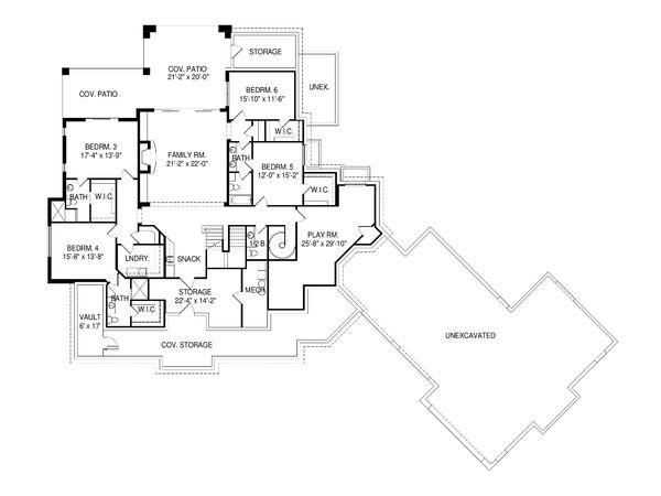 Architectural House Design - Craftsman Floor Plan - Lower Floor Plan #920-98