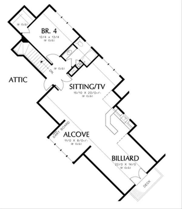 Craftsman Floor Plan - Upper Floor Plan Plan #48-465