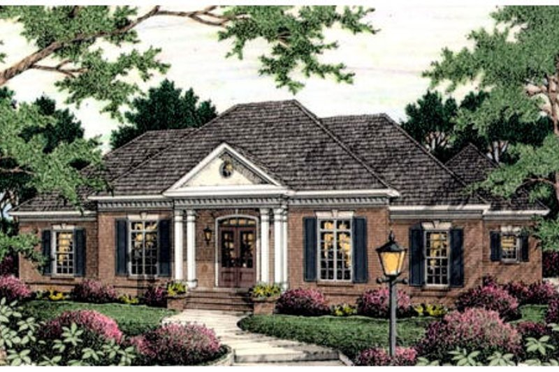 Colonial Style House Plan - 3 Beds 2.5 Baths 3084 Sq/Ft Plan #406-125 Exterior - Front Elevation