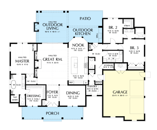 House Plan Design - Farmhouse Floor Plan - Main Floor Plan #48-984