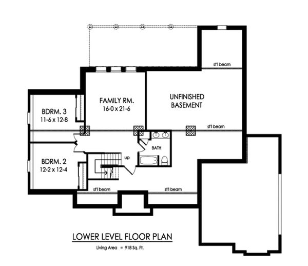 Ranch Floor Plan - Lower Floor Plan Plan #1010-235