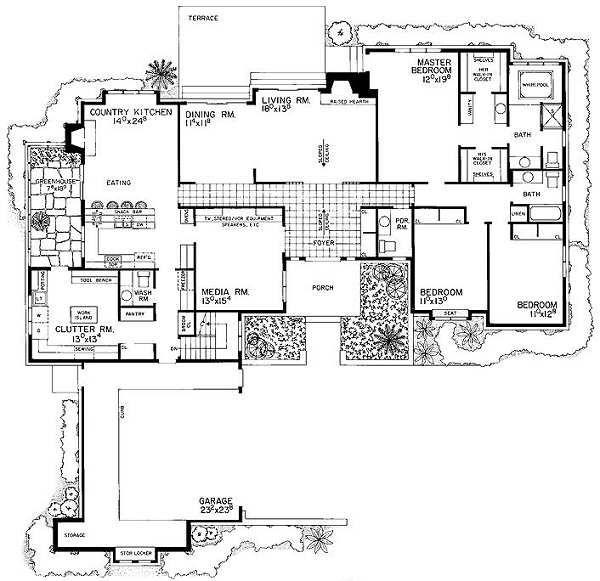 House Blueprint - Ranch Floor Plan - Main Floor Plan #72-483