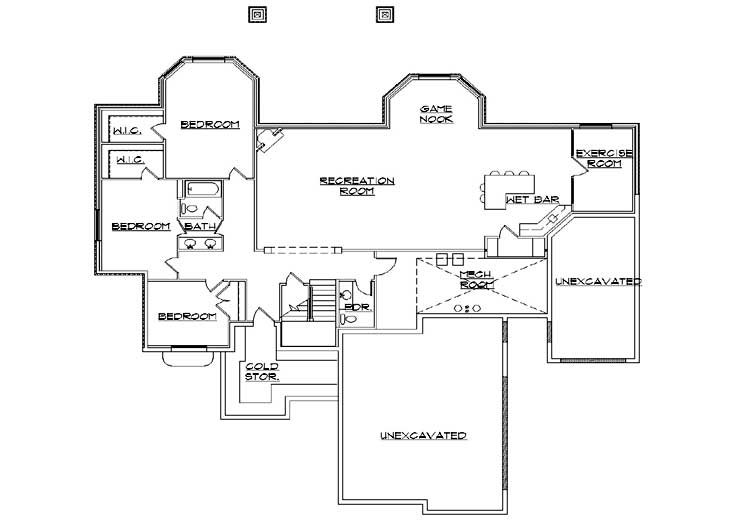European Floor Plan - Lower Floor Plan Plan #5-305
