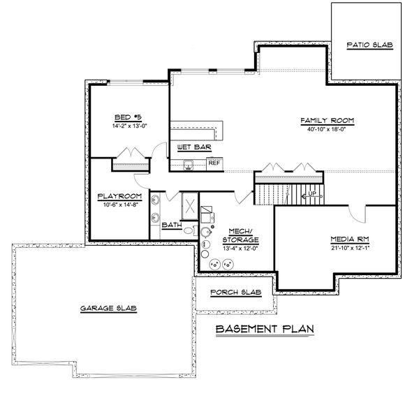 Ranch Floor Plan - Lower Floor Plan #1064-82