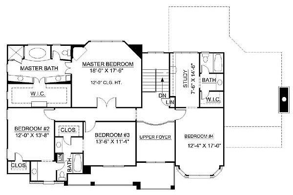 European Floor Plan - Upper Floor Plan Plan #119-247